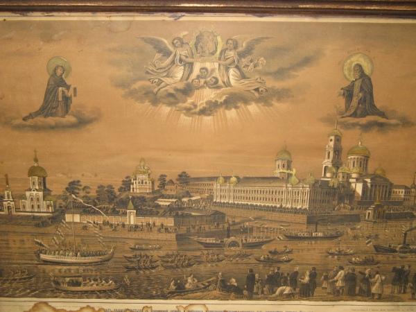 Монастырь Нилова Пустынь. Старинная гравюра